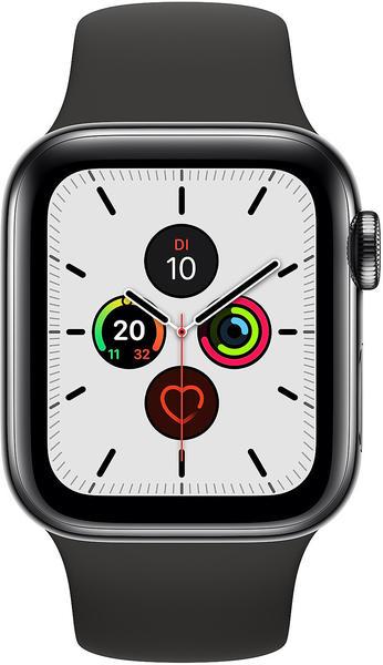Apple Watch Series 5 GPS + LTE 44mm Edelstahl schwarz Sportarmband schwarz