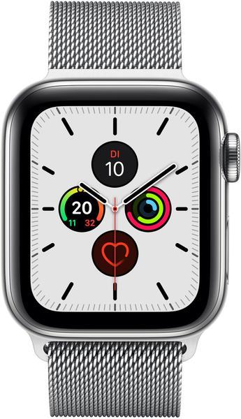 Apple Watch Series 5 GPS + LTE 40mm Edelstahl silber Milanaise silber