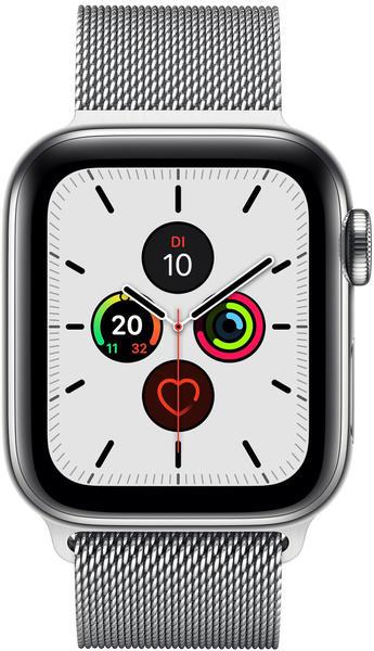 Apple Watch Series 5 GPS + LTE 44mm Edelstahl silber Milanaise silber