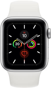 Apple Watch Series 5 GPS + LTE 44mm Aluminium silber Sportarmband weiß