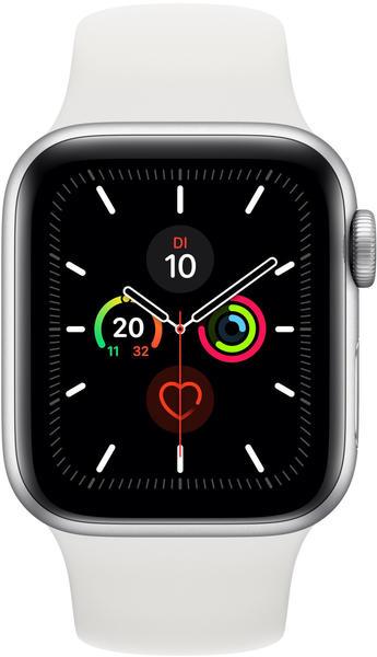 Apple Watch Series 5 GPS + LTE 44mm Aluminium silber Sportarmband weiß