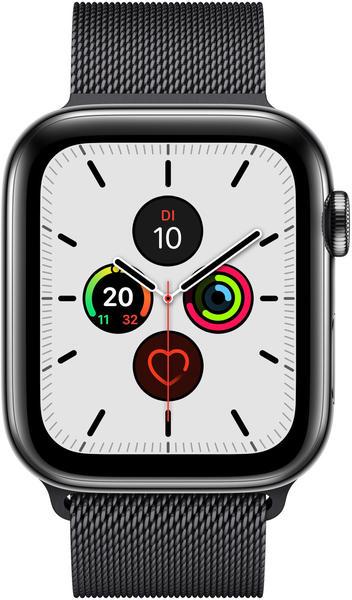 Apple Watch Series 5 GPS + LTE 44mm Edelstahl Space schwarz Milanaise schwarz