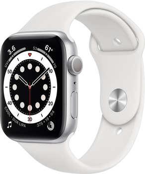 Apple Watch Series 6 Silber Aluminium 44mm Sportarmband Weiß
