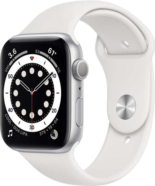 Apple Watch Series 6 Silber Aluminium 44mm Sportarmband Weiß
