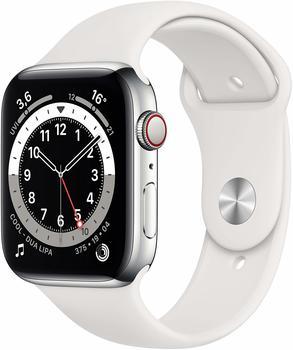 Apple Watch Series 6 LTE Silber Edelstahl 44mm Sportarmbandand Weiß