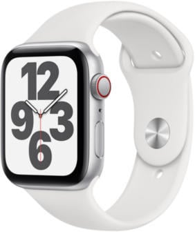 Apple Watch SE LTE Silber 44mm Sportarmband Weiß