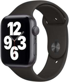 Apple Watch SE Space Grau 44mm Sportarmband Schwarz