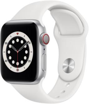 Apple Watch Series 6 LTE Silber Aluminium 40mm Sportarmband Weiß
