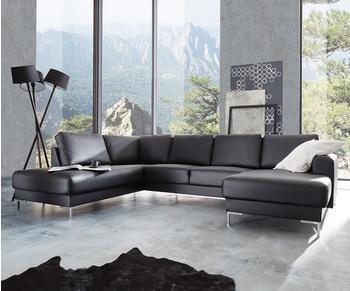 DeLife Designer-Wohnlandschaft Silas 300x200 Schwarz Ottomane Links (10650)