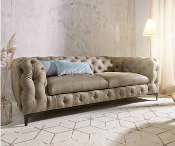 DeLife Couch Corleone 3-Sitzer taupe Vintage