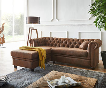 DeLife Sofa Chesterfield 200x88 cm Ottomane links braun