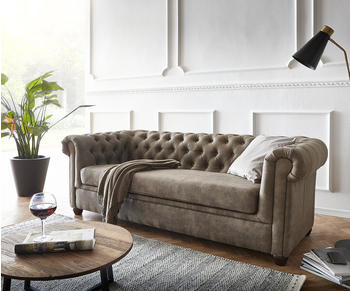 DeLife Sofa Chesterfield 3-Sitzer 200x88 cm Vintage taupe