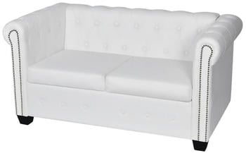 vidaXL Chesterfield Couch 2 Sitters White