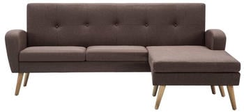 vidaXL Angle Sofa Fabric 186 x 136 cm Brown