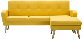 vidaXL Angle Sofa Fabric 186 x 136 cm Yellow