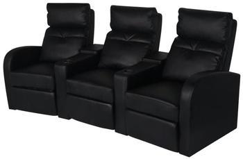 vidaXL Heimkino 3-Sitzer schwarz