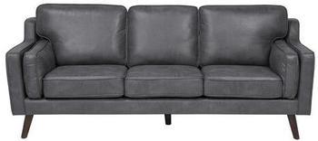 Beliani 3 Seater Sofa Faux Leather Grey LOKKA