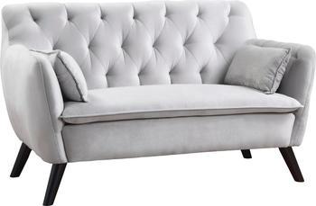 Atlantic Home Collection Janna 2 Sitzer Samt Silber grau
