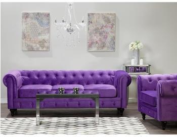 Beliani Velvet Living Room Set Purple CHESTERFIELD