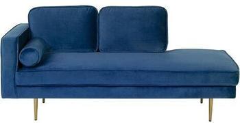 Beliani Left Hand Velvet Chaise Lounge Navy Blue MIRAMAS