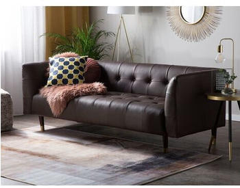 Beliani Leather Sofa Brown BYSKE
