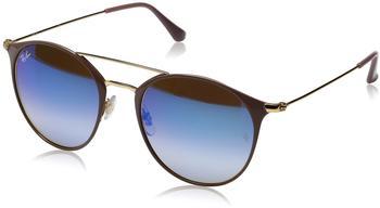 ray-ban-rb3546-90118b-beige-blau-metall-mineralisches-glas-panto-damen-herren-sonnenbrille-in-49-20-klein