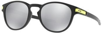 oakley-latch-oo9265-21-schwarz-grau-silber-kunststoff-plutonite-panto-rund-damen-herren-sonnenbrille-in-53-21-klein