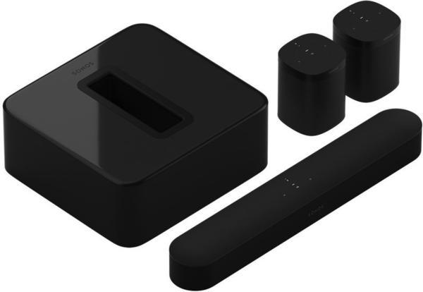 Sonos Beam (schwarz) + Sonos Sub + 2x Sonos One 5.1 Surround-Set