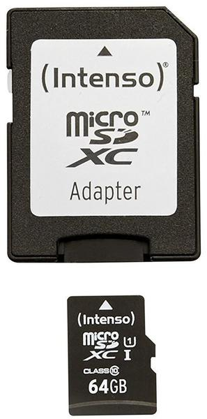 Intenso Micro SDXC 64GB Class 10 Speicherkarte inkl. SD-Adapter (UHS-I)