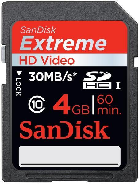 SanDisk Extreme HD Video SDHC 4GB Class 10 UHS-I (SDSDX-004G)