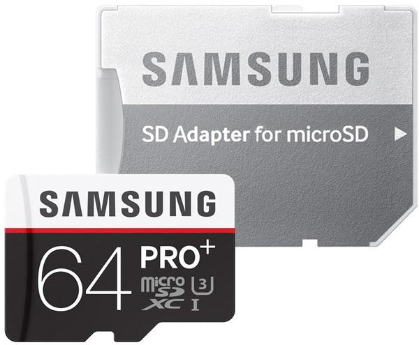 Samsung microSDXC PRO Plus 64GB Class 10 UHS-I U3 + SD-Adapter