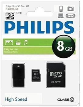 Philips microSDHC Class 10 8GB Kit (FM08MR45B/10)