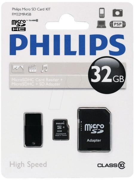 Philips microSDHC Class 10 32GB Kit (FM32MR45B/10)