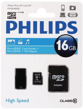 Philips microSDHC Class 10 16GB Kit (FM16MR45B/10)