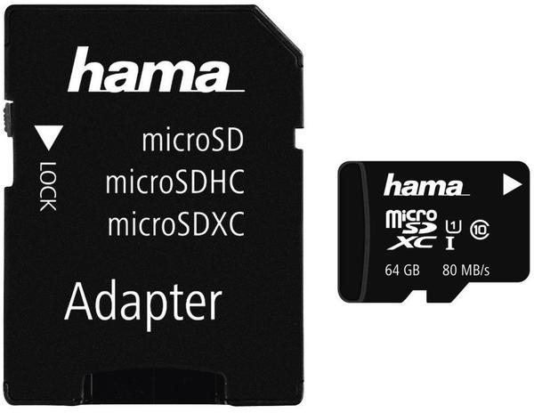 Hama microSDXC 64GB Class 10 UHS-I 80MB/s (00124140)