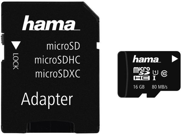 Hama microSDHC 16GB Class 10 UHS-I 80MB/s (00124138)