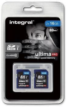 Integral UltimaPro SDHC 80MB Class 10 UHS-I U1 - 16GB Twinpack