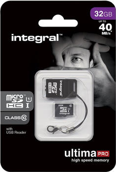 Integral microSDHC UltimaPro 32GB Class 10 40MB/s + USB Kartenleser