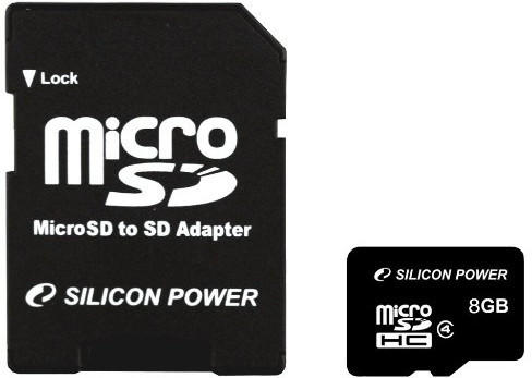 Silicon Power microSDHC 8GB Class 4 + SD-Adapter