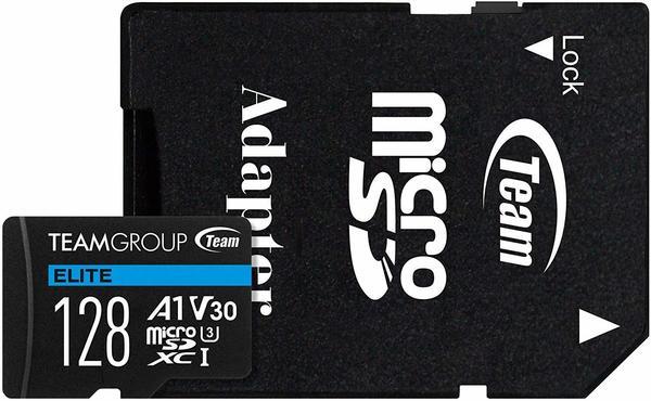 TEAM GROUP Team ELITE A1 - Flash-Speicherkarte (SD-Adapter inbegriffen) - 128 GB - A1Video Class V30UHS-I U3 - microSDXC