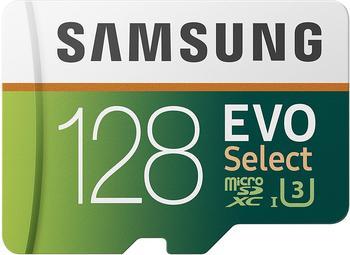 Samsung EVO Select 128 GB microSD 100MB/s, Geschwindigkeit, Full HD & 4K UHD Speicherkarte inkl. SD-Adapter für Smartphone, Tablet, Action-Kamera, Dro