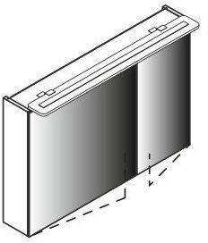 Lanzet Spiegelschrank 90 cm mit LED-Aufbauleuchte L6