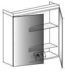 Lanzet Spiegelschrank 90 cm mit Aufbauleuchte L3