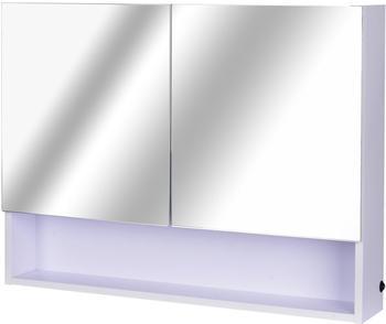 Homcom Spiegelschrank 80 cm Beleuchtung weiß