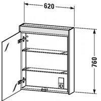 Duravit Brioso Spiegelschrank mit LED-Beleuchtung B: 62 H: 76 T: 14,8 cm, Anschlag rechts weiß matt BR7101R1818, EEK: A++