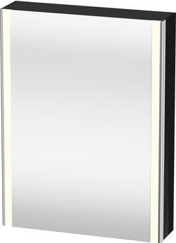 Duravit XSquare Spiegelschrank mit LED-Beleuchtung B: 60 H: 80 T: 15,6 cm, 1 Tür, Anschlag links Front verspiegeltKorpus schwarz hochglanz Lack