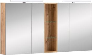 Schildmeyer Spiegelschrank Duo braun, Soft-Close-Funktion, mit LED-Beleuchtung