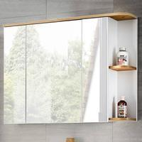 Lomadox Badezimmer Spiegelschrank, CAMPOS-56 weiß mit Wotaneiche, B x H x T ca. 94 x 71 x 20 cm
