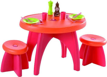 Ecoiffier Tisch mit 2 Hockern und Geschirr
