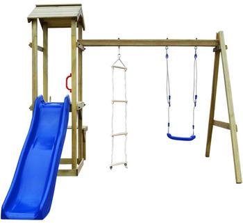 VidaXL Wooden playhouse FSC with slide swing ladder 238 x 228 x 218 cm